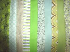 "10 x 2.5"" Jelly Roll Strips PreCut COTTON Fabric  2½"" x 44"" Rotary Cut GREENS"
