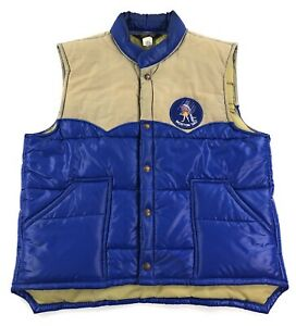 Vintage Swingster Vest\u00a0\u00a0 Yellow Nylon USA Hipster Puffer Retro Size Large