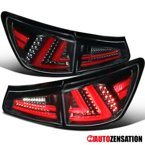 For 2006-2008 Lexus IS250 IS350 Slick Black LED Tail Lights Lamps Left+Right