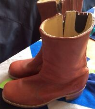 Rare Vintage 70s 80s Brick Red Frye Leather Boots Model 5550 Size 8D
