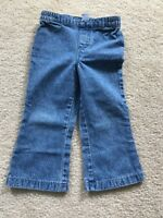 2T Girls Denim Blue Jeans, Elastic Waist, 100% Cotton Disney Baby