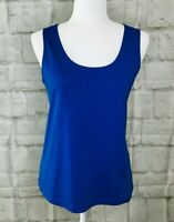 Chico's Casual Knit Tank Top Cami Size 2 Scoop Neck Sleeveless Wide Straps Blue