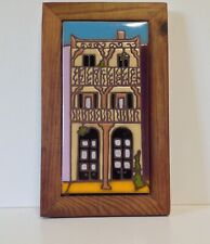 "Arius Tile Co ""French Quarter House"" Wood Framed 8""x4"" Hand Painted Art Tile"