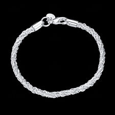 Mens Womens 925 Sterling Silver Woven Twisted Rope Chain Bracelet Wristband B321
