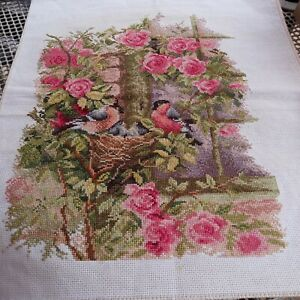 Beautiful COMPLETED CROSS STITCH birds in a nest.