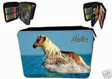 trousse à crayons poney cheval garnie personnalisable prénom au choix réf 75
