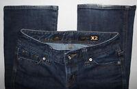 EXPRESS W10 Boot X2 Flap Pockets Stretch Blue Denim Jeans Women Sz 2  29W x 30L