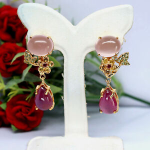 NATURAL RED RUBY, ROSE QUARTZ & SAPPHIRE EARRINGS 925 STERLING SILVER