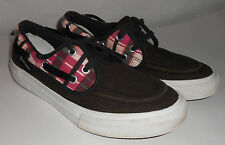 Converse Women's Boat Style Sneakers Size 6 Black & Pink Plaid