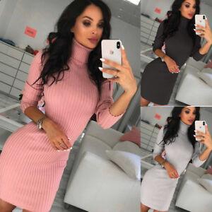 Womens High Neck Long Sleeve Knitwear Sweater Bodycon Jumper Knitted Mini Dress
