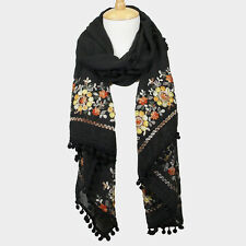PEACH PETALS EMBROIDERED FLOWER POM POM ACCENTED BLACK SCARF