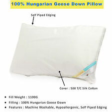 Hungarian Goose Down Pillows Pure Silk Cotton Cover Luxury Hotel Quality Bedding