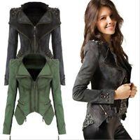 Women's Punk Slim Jacket Motorcycle Rock Coat Blazer S-6XL Rivet Studded Denim