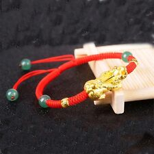 Pure 24k Yellow Gold Luck PiXiu Carved Laser Bead Jade Red Knitted Bracelet