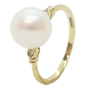 9ct Yellow Gold Fancy Large White Pearl & Diamond 0.005ct Engagement Dress Ring