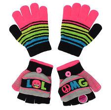 Jumping Beans Girls Size Small Lol Print Stripe 2 Pack Touchscreen Gloves/Mitten