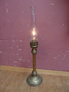 ANTIQUE BRASS VICTORIAN CAMPAIGN TABLE CANDLE LAMP by SHERWOODS of BIRMINGHAM