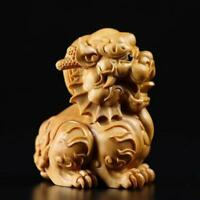1Pair Natural China Stone Carving Fengshui Decor Foo Dog Guard Door Lion Lucky