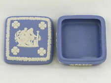 Wedgwood Jasperware Square Trinket Box Classical Greek Figures Jasper Ware Blue