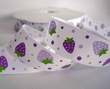 "25mm(1"") White Strawberry Flower Grosgrain Ribbon Lot Hairbow 2 Yards Craft Sew"