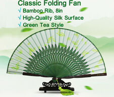 Classic Folding Fan,Touqingdong bamboo Rib&Silk Cloth Drawn with Green Tea,8in折扇