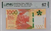 Hong Kong 1000 Dollars 2018 P 222 a HSCB Radar 728827 Superb GEM UNC PMG 67 EPQ