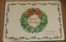 """Paper Placemats 1000 """"Season's Greetings""""  Wreath and Bow Brand New In Box 10x14"""