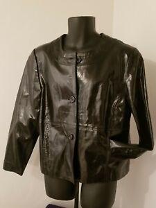 Laura Ashley Black Leather Cropped Swing Jacket Coat XL