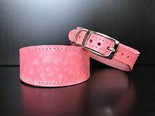 MEDIUM Leather Dog Collar LINED Greyhound Lurcher Whippet PINK OSTRICH SKIN