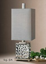 "32"" Nickel Plated Water Glass Table Lamp Metal Accents Silver Gray Shade Light"