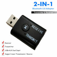 2in1 USB Wireless bluetooth V5.0 Stereo Audio Music Transmitter Adapter For PC
