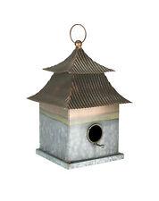 Galvanized Metal Japanese Pagoda Style Hanging Birdhouse