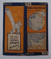Carte MICHELIN old map FRANCE CHERBOURG ROUEN 1930 Bibendum pneu tyre