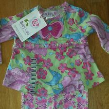 NWT BABY LULU 12mo FLORAL PANT TOP SET LOTUS BATIK pink purple green
