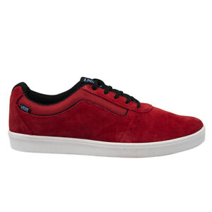 Vans LXVI Numeral Red Black Suede Leather Lace Up Unisex Trainers SEMY25