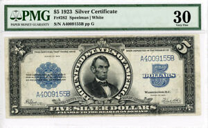 FR. 282 1923 $5 Silver Certificate PMG Very Fine 30 (Retouched, Minor Split)