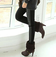 Women Fashion Warm Elastic Cotton Faux Leather Leggings Pant Trouser Winter