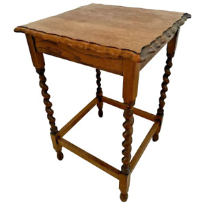 Antique Table Tiger Oak Barley Twist Leg Pub style  Scalloped Top Edges