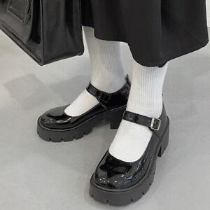 Women Girls Block Mid Heel Platform Buckle Mary Jane Shoes Patent Leather Pumps