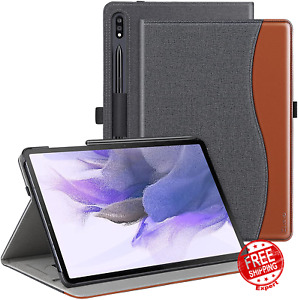 Case For Samsung Galaxy Tab S7 FE PU Leather Folding Stand Cover With Pen Holder