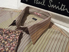 "PAUL SMITH Mens Shirt 🌍 Size XL (CHEST 46"") 🌎 RRP £95+ 🌏 STRIPED FLORAL CUFFS"