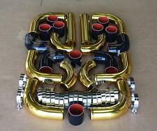 """Gold 3.0"""" 12x Aluminum Intercooler Piping Kit w/Black Couplers + T-Bolt Clamps"""