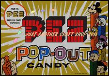 Pez Walt Disney Vintage 1954 Candy Dispenser Poster Advert Sign Large A3 Size