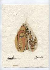 Original Ink and Oil with Bodhi Leaf   Buddha Image    Vientiane Laos       BL02
