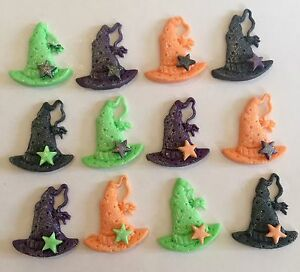 12 WITCHES HATS  EDIBLE  SUGARPASTE ICING  CAKE TOPPERS