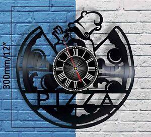 Pizza Sign Vinyl Record Wall Clock Restaurant Pizzeria Art Home Shop Cafe Decor