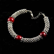 Red Coral Color Shell Pearl Tibetan Silver Bead Clasp Women Girl Bangle Bracelet