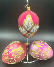 Lot 3 Large Glass Oval Christmas Ornaments 5� Long Made in Poland Dated 2001
