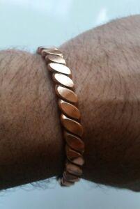 Unisex Pure Copper Twisted Wires Bracelet Cuff Adjustable Size Hindu Kara D12B