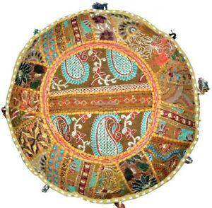 Patchwork Bohemian Pouf Cover Ottoman Ethnic Decor Indian Pouffe Foot Stool New